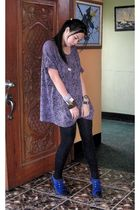 purple Pop culture top - black tights - blue shoes - black accessories - silver