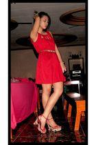 red Petit Monde dress - Matthews shoes - gold Louis Vuitton belt - gold accessor