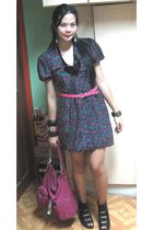 purple from mom dress - pink accessories - black storetscom shoes - pink Tomato