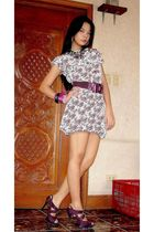 white Uno Rosa dress - purple bought online shoes - purple belt - pink Girl Shop