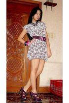 white Uno Rosa dress - purple bought online shoes - purple belt - pink Girl Shop