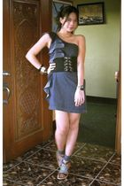 blue Tomato dress - black YRYS belt - blue Matthews shoes - silver accessories -