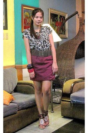 gray Zara dress - muse skirt - purple Matthews shoes - brown belt