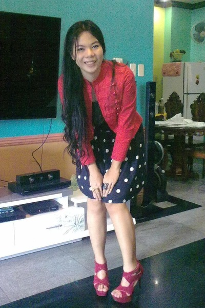 red military Details blazer - black fringe top - polka dot Hipstop skirt - bangk