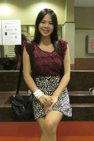 magenta apartment 8 dress - white Promod skirt - white babo accessories - black