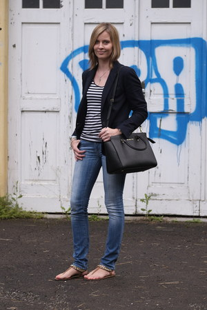 navy navy Zara blazer - blue 7 for all mankind jeans - black Michael Kors bag