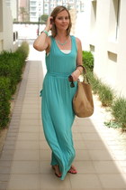 aquamarine SYL bracelet - aquamarine Forever 21 dress - tan Delvaux bag