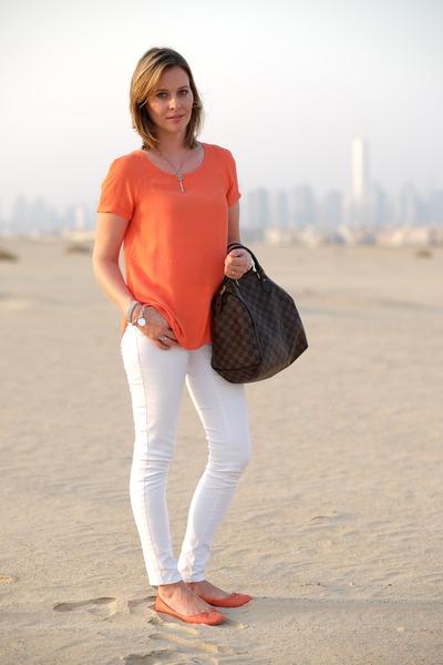 white H&M pants - brown Louis Vuitton bag - carrot orange Promod top