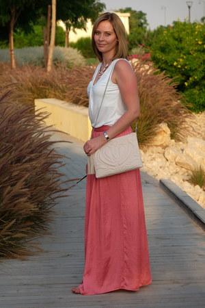 polyester Zara skirt - H&M bag - Forever 21 necklace - H&M top