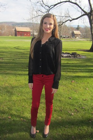black sheer H&M blouse - red skinny TJ Maxx pants - black cap toe Payless pumps