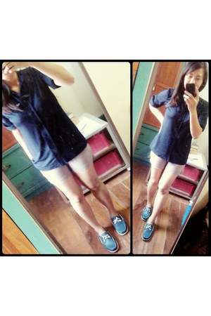 artwork shoes - Bershka shorts - Hudson blouse