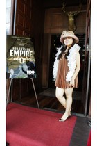 bronze dress - bronze Lucban Hats hat - white feather boa scarf - off white neck
