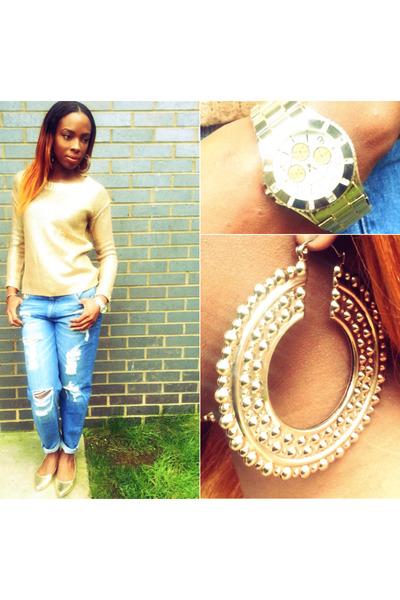 gold metallic Boohoo jumper - blue asos jeans - gold Matalan flats