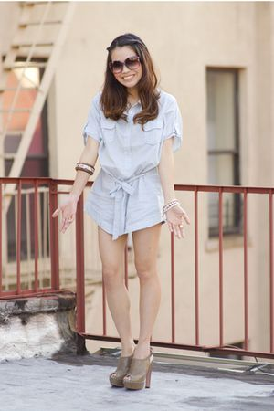 blue f21 shirt - beige Prada shoes - blue H&M