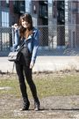Black-aldo-shoes-blue-h-m-blazer-gray-chanel-purse