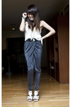 gray H&M pants - white f21 vest - white Topshop shoes