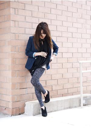 Gucci scarf - Forever21 leggings - Nine West boots - Urban Renewal blazer