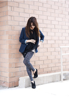 Gucci scarf - Forever21 leggings - Nine West boots - Urban Renewal blazer