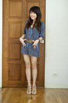 brown vintage belt - beige Topshop shoes - blue Urban Outfitters dress