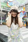 Blue-sretsis-dress-beige-kloset-hat-beige-topshop-shoes