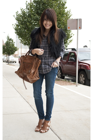 gray plaid shirt urban outfitter shirt - brown Ninewest shoes