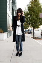 coat coat - Forever21 dress - Topshop jeans - Nine West boots
