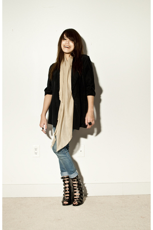 beige local brand scarf - black buckle boots Opening Ceremony boots