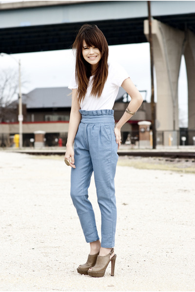 white Topshop t-shirt - blue bangkok pants - brown Prada shoes