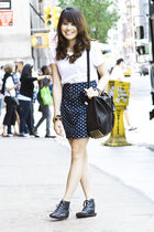 black Alexander Wang purse - blue Zara skirt - black Bakers shoes - black CCSKYE