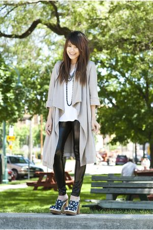 gray Alexander Wang cardigan - blue Miu Miu shoes - black Forever 21 leggings