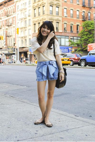 blue Zara shorts - black Alexander Wang bag - beige American Apparel shirt