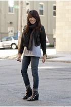 black from bangkok jacket - blue Topshop jeans - black Gucci scarf - black Openi
