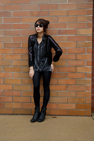 H&M jacket - vintage shirt - American Apparel tights