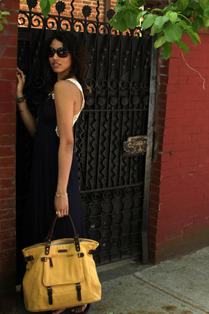 navy Aqua dress - gold BDG bag - dark brown tory burch sunglasses