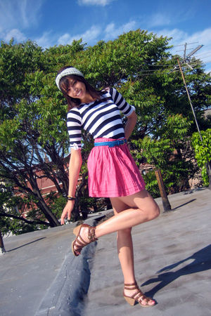 blue Urban Outfitters accessories - black Splendid top - pink Target skirt - bro