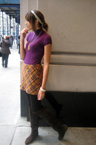 purple Macys shirt - brown vintage skirt - black HUE tights - brown Deena & Ozzy
