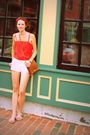 Red-vintage-top-brown-vintage-coach-purse-red-vintage-scarf-silver-vintage