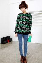 green YiSHiON sweater - sky blue calvin klein jeans - tawny D&G boots
