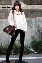 ivory Bella sweater - black Divos boots - dark brown reno bag