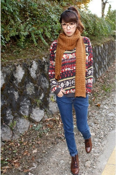 dark brown glasses - tawny scarf - red sweater - blue Levis jeans - dark brown b