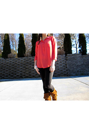 coral Loft blouse - bronze fringe Minnetonka boots - black So Low leggings