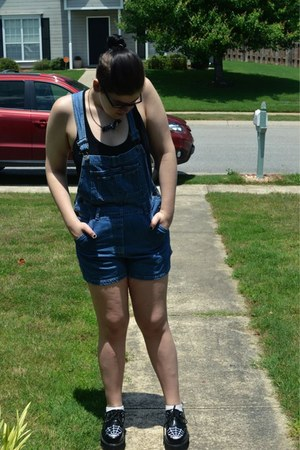 black creepers Demonia shoes - blue thrifted denim romper