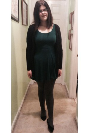forest green Forever 21 dress - black H&M cardigan