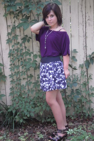brown shoes - purple shirt - skirt