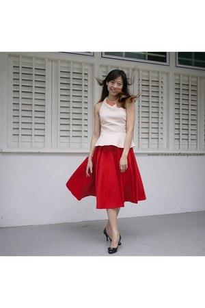 red asos skirt - peach asos top