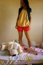 Red-shorts-yellow-pinkapple-blouse-penshoppe-blazer