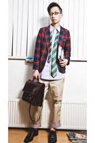 vintage shoes - vintage blazer - vintage bag - Uniqlo pants