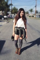 white lace crop top Forever 21 top - brown combat Reflection boots