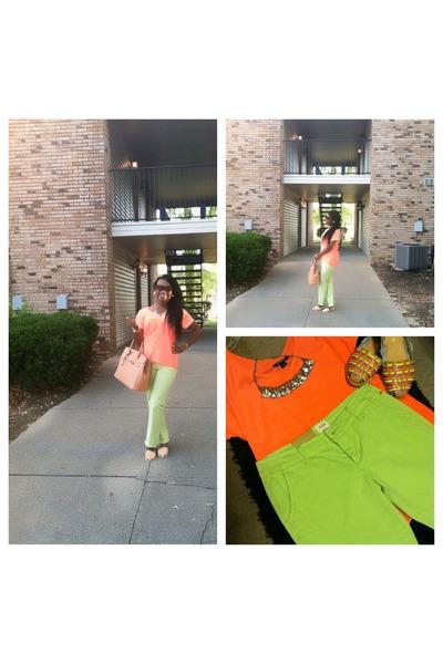 green Gap pants - yellow Shoe Dazzle shoes - mustard work bag