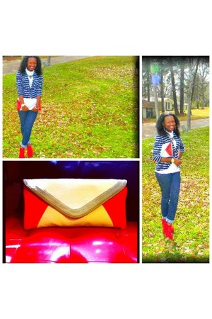 navy stripes blazer - cream clutch purse - red wedges